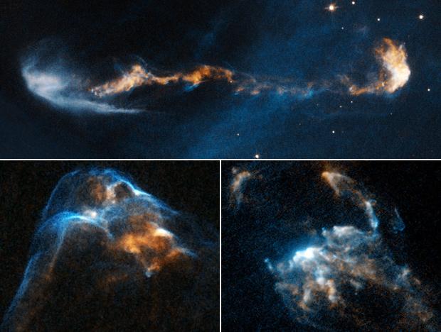 Imagens mostram jatos de matéria lançados por estrelas 'bebês'. (Foto: P. Hartigan / Rice University / Nasa / ESA)