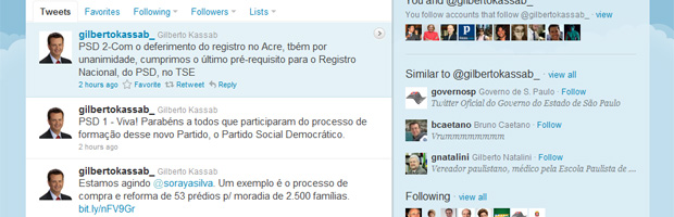 Página do prefeito Gilberto Kassab no Twitter, com mensagens em que ele anuncia a obtenção dos registros estaduais (Foto: Reprodução)