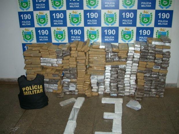 Polícia Militar apreende 400 quilos de maconha em Paranaíba - MS (Foto: Divulgação/PM)