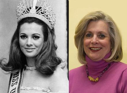 Martha Vasconcellos em 28 de julho de 1968, ano em que venceu o Miss Universo, e em foto de 2009, como supervisora de uma ONG de combate à violência contra a mulher (Foto: Arquivo/Agência Estado e Arquivo Pessoal)
