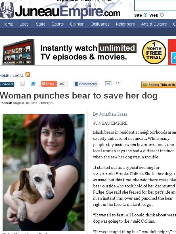 Brooke Collins acertou focinho de urso para salvar cadela de  estimação. (Foto: Reprodução)