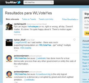 Wikileaks conduziu votação no Twitter com as tags WLVoteYes e WLVoteNo (Foto: Reprodução)