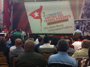 Militantes no Congresso do PT, em Brasília (Foto: Andréia Sadi / G1)