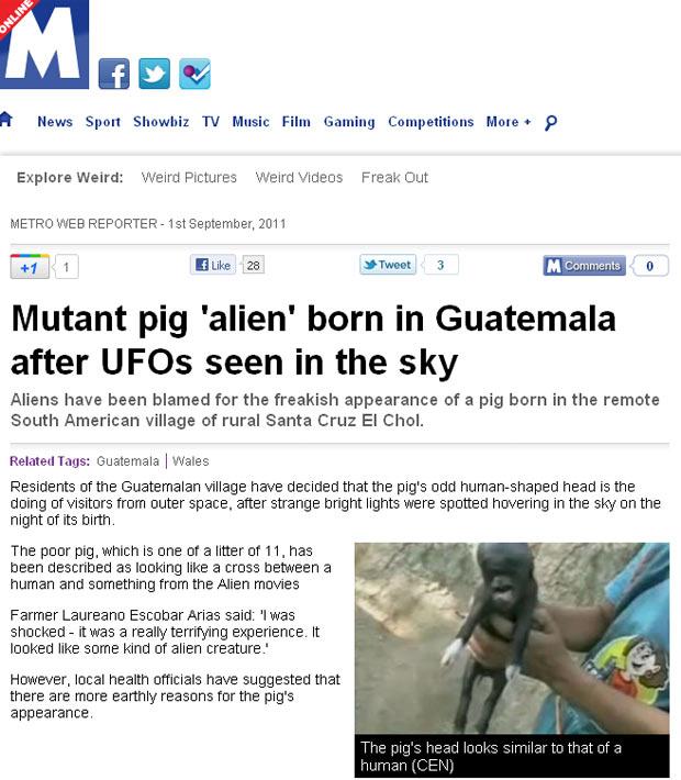 Moradores ficaram chocados com o nascimento do filhote com aparência estranha. (Foto: Reprodução/Metro)
