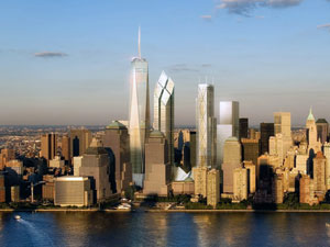 Projeto do novo World Trade Center, com a Freedom Tower se destacando com seus 417 metros - sem contar a antena (Foto: AThe New York Times/Siverstein Properties)