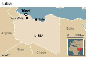 Mapa da Líbia com destaque para as cidades de Bani Walid, Trípoli e Sirte (Foto: Arte/G1)