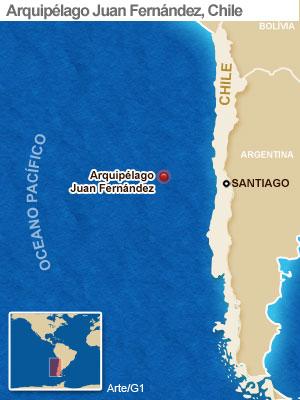 Mapa do arquipélago Juan Fernández, no Chile (Foto: Arte/G1)