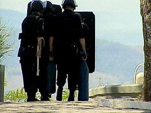 Ameaça de bomba em Juiz de Fora. (Foto: Reprodução/TV Globo)