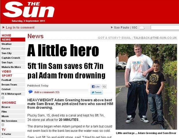 Sam Brear com amigo Adam Greening. (Foto: Reprodução/The Sun)