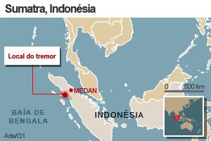 mapa terremoto indonesia 5/9 (Foto: arte g1)
