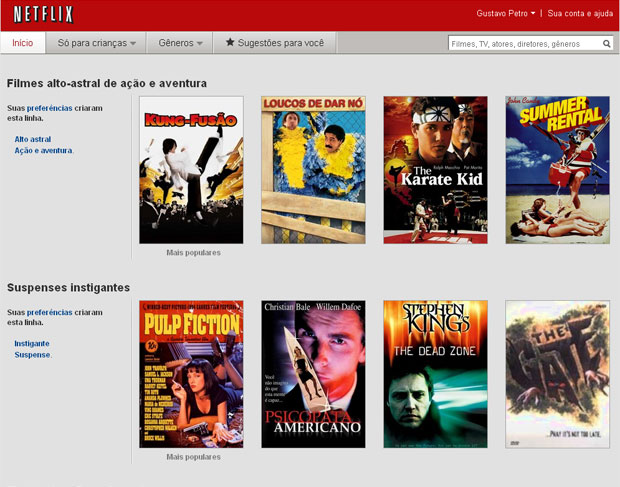 Página da web do Netflix no Brasil apresenta catálogo de filmes variado (Foto: Reprodução)