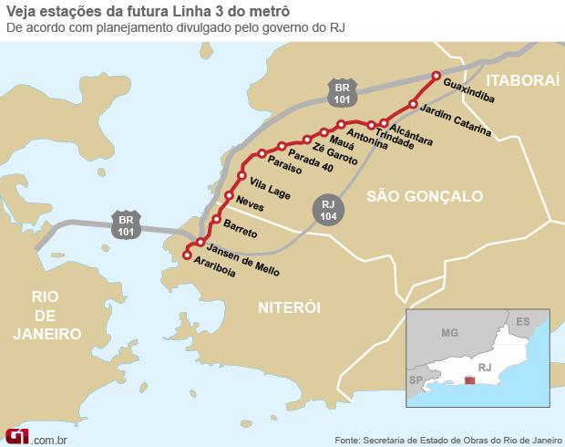 Linha 3 do Metrô ligará Niterói a Itaboraí na Região Metropolitana (Foto: Arte/G1)