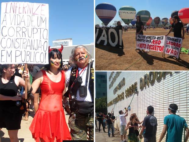 Manifestante vestida de 'diabinha' em protesto contra a corrupção; integrantes de ato lavam parede de ministério e expõem faixas na Esplanada durante desfile do 7 de Setembro (Foto: Jamila Tavares/G1 e Rafaela Céo/G1)