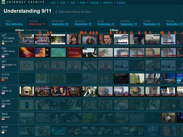 Página do Internet Archive permite visualizar até 3 mil horas de vídeo transmitido ao vivo por 20 redes de TV do mundo (Foto: Reprodução)