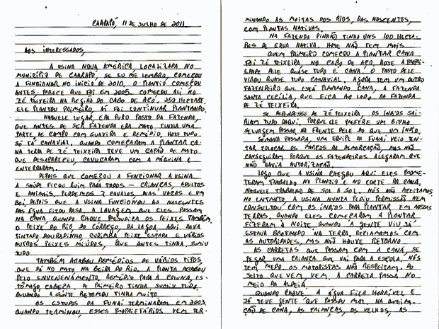 Carta escrita pela comunidade indígena Guymnoka, da etnia Guarani, que pede a retirada da usina de produção de etanol da região de Caarapó (Foto: Reprodução/Survivor)