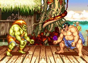 O brasileiro Blanka enfrenta Honda no Brasil em 'Street Fighter II' (Foto: Reprodução)