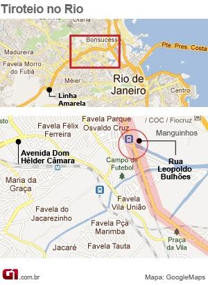 Mapa localiza Manguinhos, na Zona Norte do Rio, área de intenso tiroteio (Foto: Arte/ G1)
