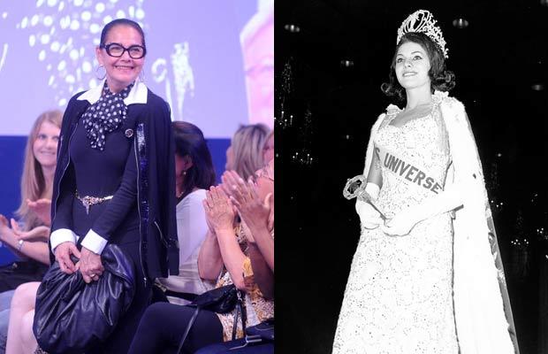 Ieda Maria Vargas durante um concurso de beleza em novembro de 2010 no Rio Grande do Sul, e quando venceu o Miss Universo, em 1963 (Foto: Ricardo Duarte/Agência RBS e Divulgação/Miss Universe)