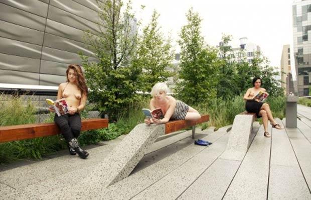 Participantes do clube leitura pública para mulheres de topless. (Foto: Reprodução/Site oficial)