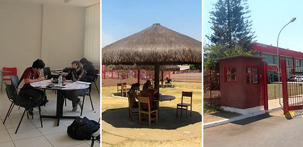 Sala de estudo, centro de convivência e portaria principal do Colégio Olimpo, em Brasília (Foto: Rafaela Céo/G1)