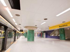 Plataforma da Estação República da Linha Amarela (Foto: Daigo Oliva/G1)