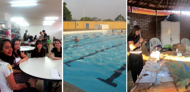 Alunos em biblioteca, piscina e aula de artes na escola Setor Leste, em Brasília (Foto: Jamila Tavares/G1)