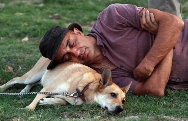 Homem 'usa' seu cão como travesseiro em gramado em Taipei,  Taiwan, neste domingo (11). Eles assistiam a show em homenagem às  vítimas do 11 de Setembro nos EUA (Foto:  Chiang Ying-ying/AP)