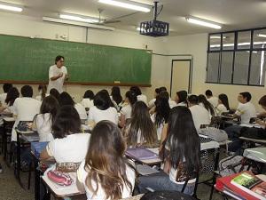 Colégio WR tem por média 55 alunos por sala de aula (Foto: Humberta Carvalho)