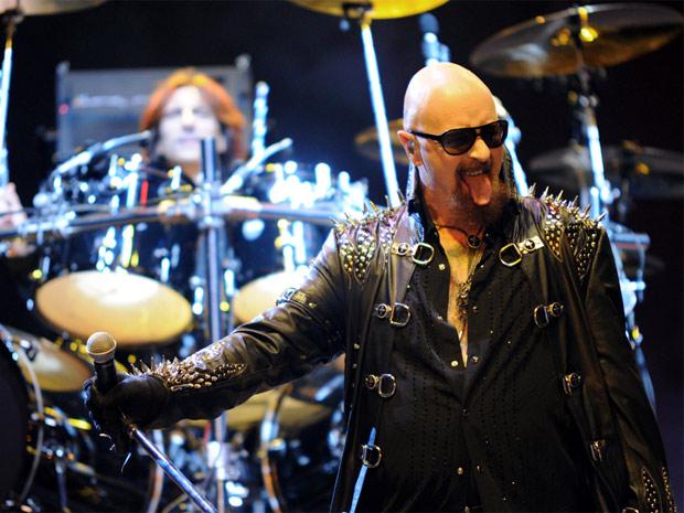 O vocalista do Judas Priest, Rob Halford, durante show em SP (Foto: Raul Zito/G1)