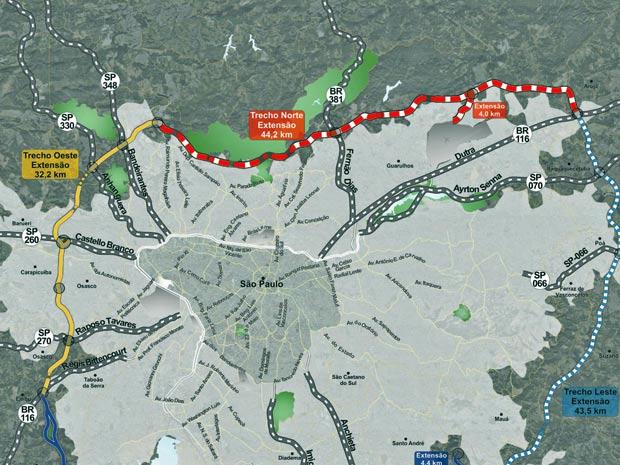 Traçado do trecho norte do Rodoanel Mario Covas, que deverá ser concluído até 2014 (Foto: Divulgação/Secretaria dos Transportes)