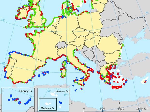 Mapa das áreas costeiras vulnerávei na Europa (Foto: Projeto Clamer e Agência Europeia de Meio Ambiente)