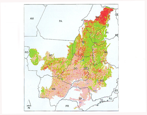 Mapa do desmatamento no bioma cerrado - Em vermelho, áreas devastadas até 2010; em rosa, áreas devastadas até 2009; em verde, remanescentes da flora do cerrado; em azul, corpos d'água. (Foto: Divulgação/Ministério do Meio Ambiente)