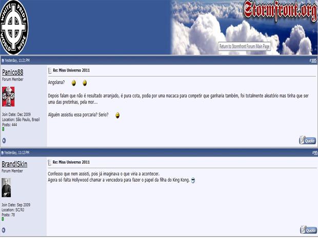 Trechos de mensagens racistas contra nova miss universo postadas por membros de site investigado por suspeita de ligações com grupos neonazistas (Foto: Reprodução)