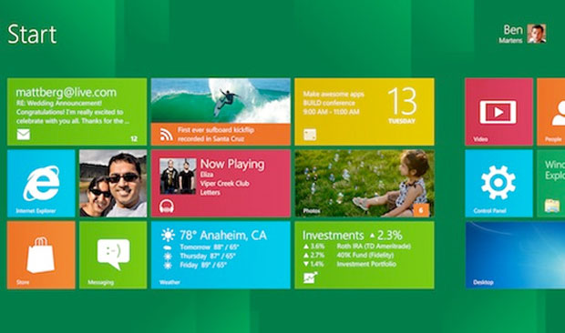 Tela inciar do novo Windows, também com o visual 'MetroUI', mais indicado para tablets e computadores operados por telas sensíveis ao toque (Foto: Reprodução)