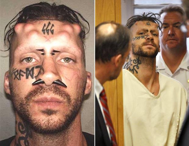 Caius Veiovis implantou vários chifres na cabeça e tatuou o número 666 na testa. (Foto: Divulgação-AP)
