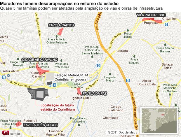 Mapa das áreas que podem ser removidas pelo estádio do Corinthians (Foto: Arte/G1)