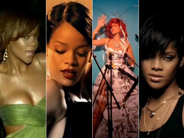 Rihanna nos clipes das músicas 'S.O.S', 'Umbrella', 'S&M' e 'Take a bow' (Foto: Reprodução)
