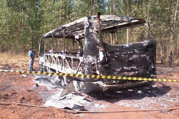 Veículo pegou fogo e ficou totalmente destruído após tocar em um fio de alta tensão (Foto: Karina Ribeiro/O Popular)