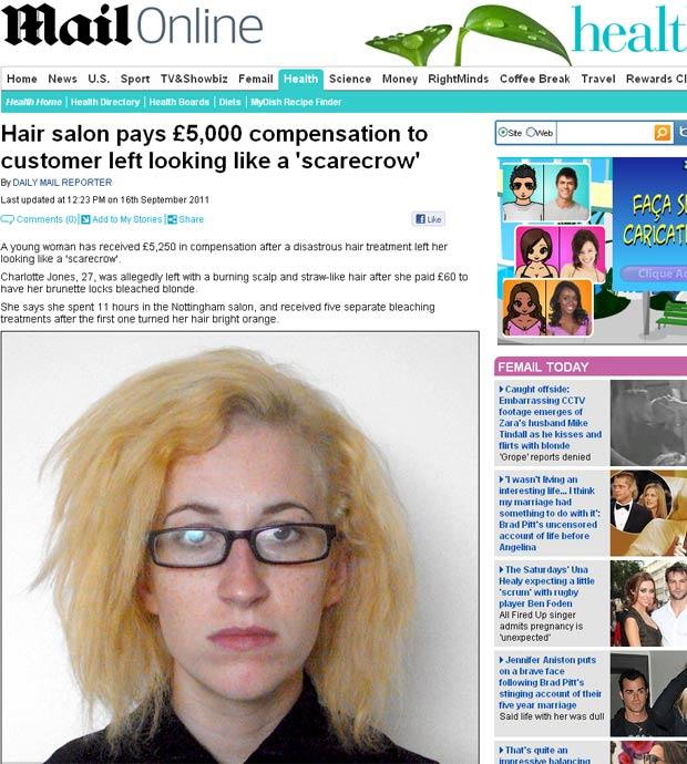 Charlotte Jones queria deixar as madeixas loiras. (Foto: Reprodução/Daily Mail)