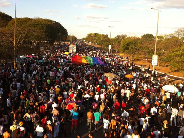 Público da Parada Gay de Brasília durante marcha neste domingo (18) (Foto: Rafaela Céo / G1)