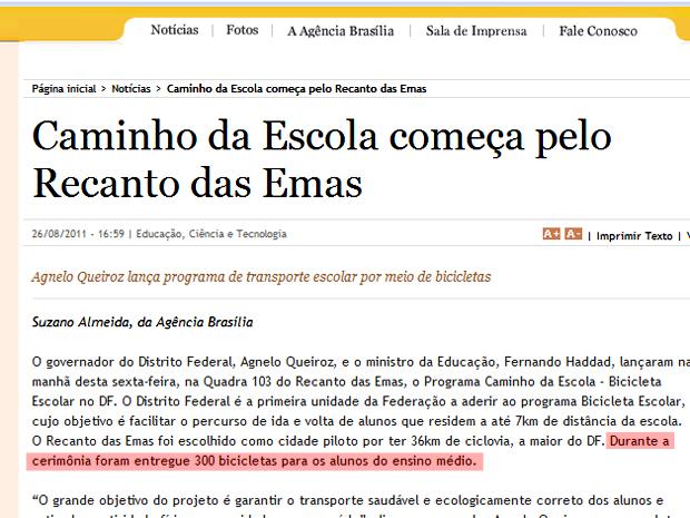 Notícia publicada na Agência Brasília, do governo do Distrito Federal, no dia da cerimônia de lançamento do programa.  (Foto: Agência Brasília/Reprodução)