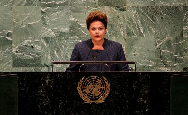 A presidente Dilma Rousseff, durante seu primeiro discurso na ONU, na manhã desta segunda-feira (19). (Foto: Roberto Stuckert Filho/PR)