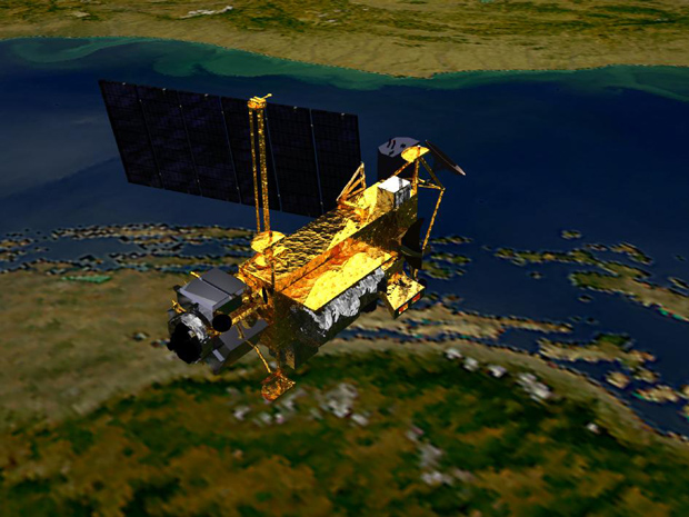 Ilustração divulgada pela Nasa do Uars, satélite que deve cair de volta na Terra (Foto: Nasa)