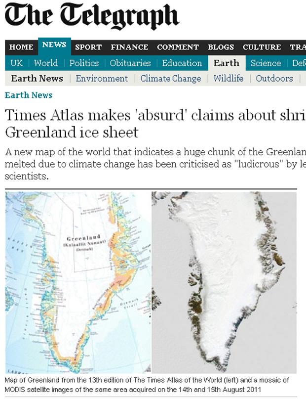 Mapa do Times Atlas (à esquerda) mostra regiões litorâneas descobertas, como se não tivessem gelo, informação desmentida por imagens de satélites da Nasa (à direita) (Foto: Daily Telegraph / Reprodução)