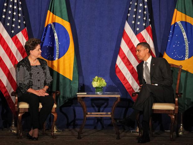 A presidente Dilma Rousseff durante reunião com o presidente dos Estados Unidos, Barack Obama no Hotel Waldorf Astoria, em Nova York (Foto: Roberto Stuckert Filho / Presidência)
