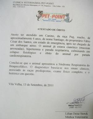 Cão morre após atraso em voo entre São Paulo e Vitória, diz dono (Foto: Divulgação/Mariana Castelar)
