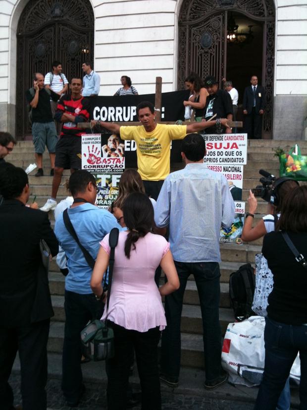 Protesto começou por volta das 17h desta terça-feira (20). (Foto: Leonardo Barreto de Camargo Salles/VC no G1)