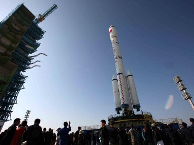 Foguete que vai lançar o Tiangong 1 para o espaço (Foto: AFP)