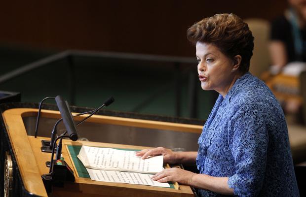 A presidente Dilma Rousseff, durante discurso de abertura da 66ª Assembleia Geral das Nações Unidas, em Nova York. (Foto: AP)