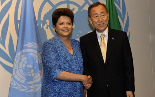 DIlma teve reunião privada com o secretário-geral da ONU, Ban Ki-moon, na manhã desta quarta (21), em Nova York (Foto: Timothy A. Clary / AP Photo)